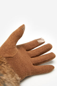 Cortefiel Wool gloves with small stones and natural fur Stone