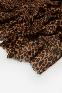 Cortefiel Leopard print scarf Natural