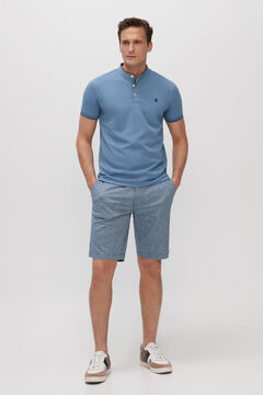 Cortefiel Short-sleeved polo shirt with mandarin collar Royal blue