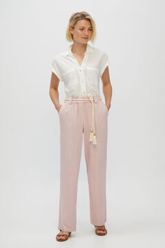 Cortefiel Casual linen trousers Lilac