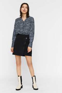 Cortefiel Short skirt with buttons Black