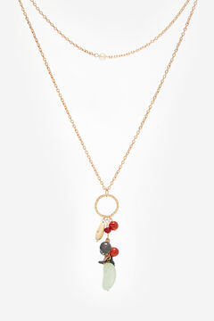 Cortefiel Pearl and stone pendant Yellow