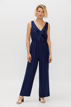 Cortefiel Long satin striped jumpsuit Turquoise