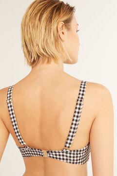 Cortefiel Eco-friendly gingham bikini top Ecru