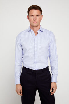 Cortefiel Textured classic fit dress shirt Blue