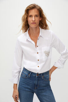 Cortefiel Embroidered pocket shirt White