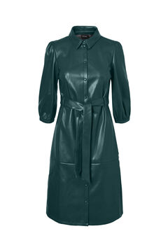 Cortefiel Faux leather midi dress with 3/4 sleeves Pistachiogreen