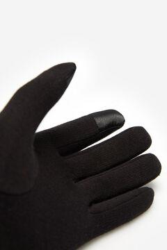 Cortefiel Guante acolchado con tacha dorada Negro