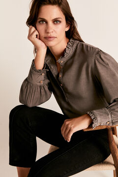 Cortefiel Tencel mock turtleneck blouse Dark gray