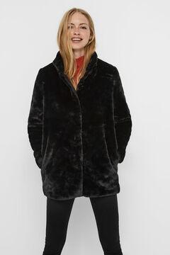 Cortefiel Faux fur coat Black