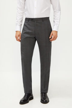 Cortefiel Checked tailored fit suit trousers Gray
