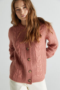 Cortefiel Soft cable knit cardigan Pink
