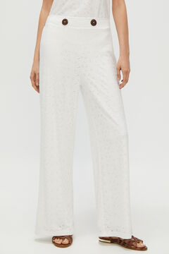 Cortefiel Jersey-knit buttoned trousers White