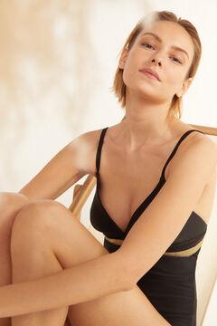 Cortefiel Lurex elastic shaping swimsuit Black