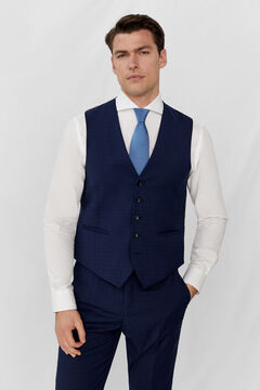 Cortefiel Slim fit checked waistcoat Navy