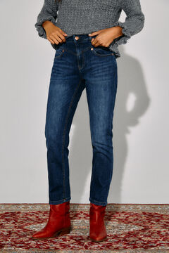 Cortefiel Straight cropped jeans Royal blue
