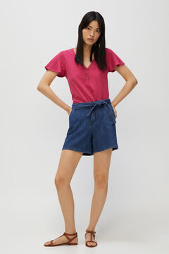 Cortefiel Basic t-shirt with buttons Plum