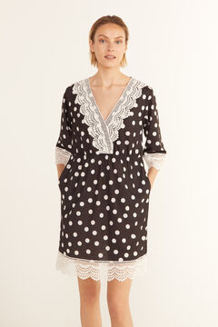 Cortefiel Printed kaftan with crochet Ecru