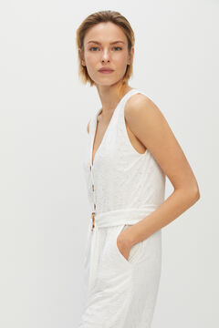 Cortefiel Embroidered-effect jersey-knit jumpsuit White