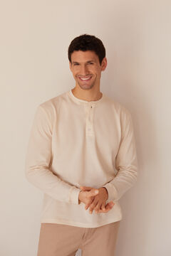 Cortefiel Long-sleeved round neck t-shirt with buttoned neck Ecru