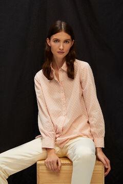 Cortefiel Long-sleeved plumetis shirt Pink