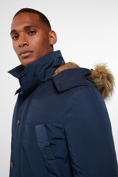 Cortefiel Jacket with a removable fur-lined hood Navy
