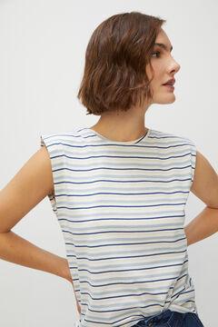 Cortefiel Shoulder pads T-shirt Ecru