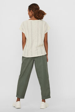 Cortefiel Perforated embroidery top  Stone