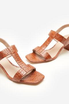 Cortefiel Crocodile embossed sandal Tobaco
