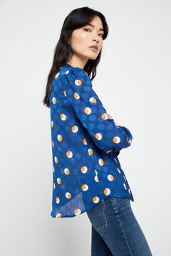 Cortefiel Polka dot blouse Blue
