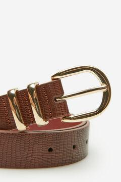 Cortefiel Belt with metal loops Tobaco