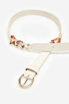 Cortefiel Tortoiseshell chain belt Ecru