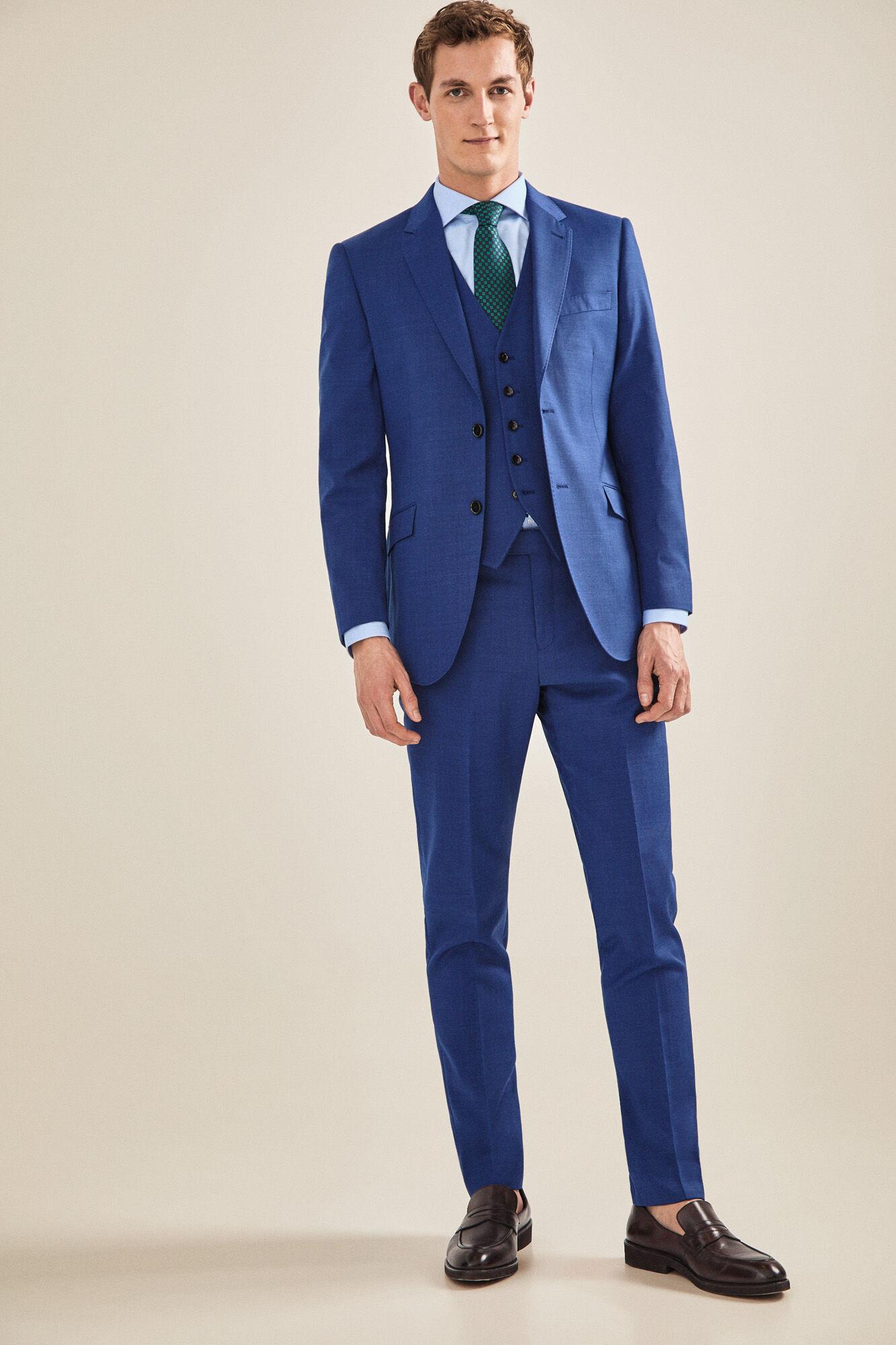 5c7cd913c0 Slim fit blue dress trousers