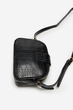 Cortefiel Metal fastening crossbody bag Black