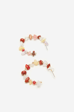 Cortefiel Multicoloured natural stone hoop earrings Natural