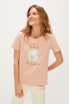 Cortefiel Save the World t-shirt Pink