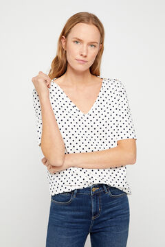 Cortefiel Essential organic cotton V-neck t-shirt Ecru