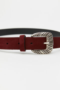 Cortefiel Belt with carved buckle Red