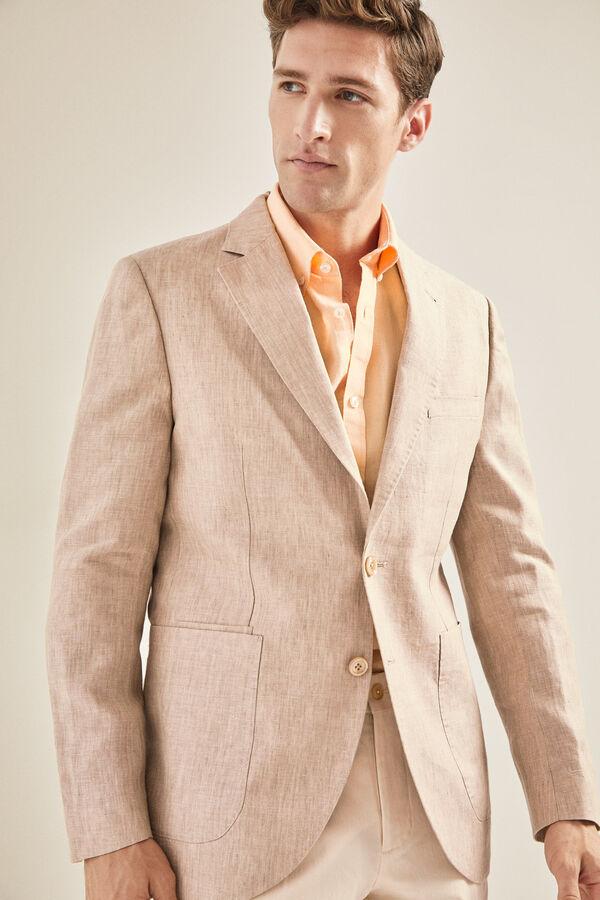 cb41471204289 Cortefiel Americana de lino en tailored fit Beige. Comprar