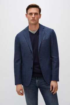 Cortefiel Houndstooth blazer Royal blue