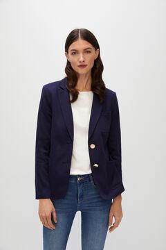 Cortefiel Piqué-knit blazer Navy