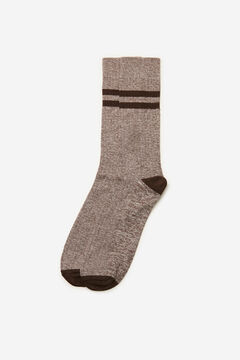 Cortefiel Plain ribbed sports socks Camel