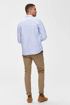 Cortefiel Classic Oxford shirt pocket Royal blue