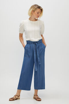 Cortefiel Fluid straight cropped 100% lyocell trousers Blue jeans