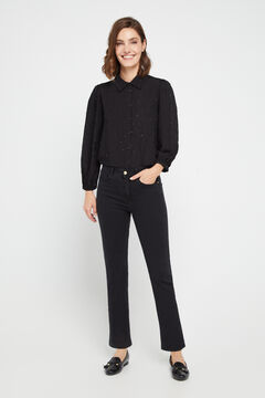 Cortefiel Cropped bell-bottom jeans Black