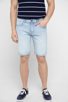 Cortefiel Sustainable wash denim Bermuda shorts Light blue