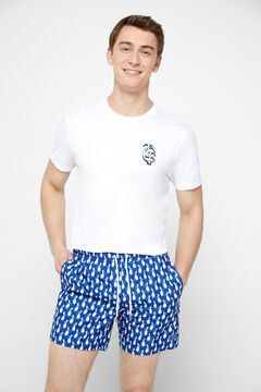 Cortefiel Printed recycled polyester swimming shorts Navy