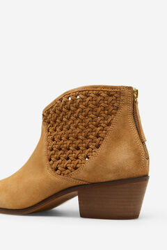 Cortefiel Split leather woven ankle boot Mole