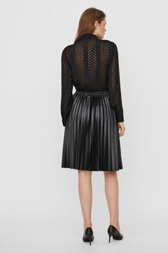 Cortefiel Pleated faux leather skirt Black