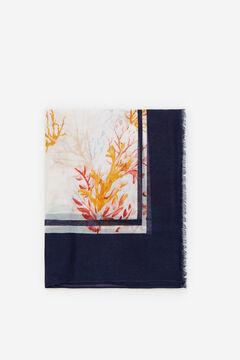Cortefiel Coral print fine scarf Blue